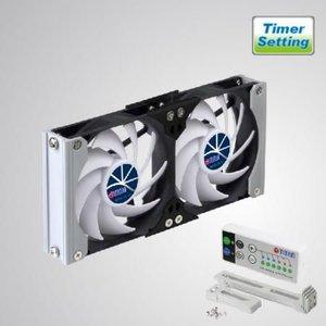 Titan TTC-SC19(B) 12V DC Dubbele ventilatie koelrek RV-ventilator met timer en snelheidssregelaar.