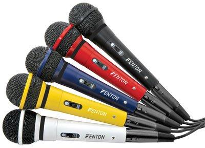 FENTON DM120 Karaoke microfoon set, diverse (5) kleuren in de set.