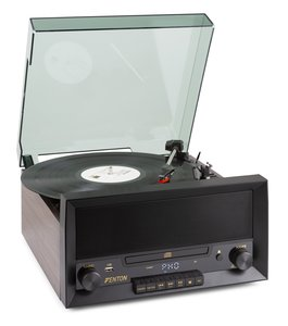 FENTON RP135W platenspeler met ingebouwde cd speler, FM radio en Bluetooth ontvanger.