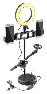 VONYX RL20 LED ring light 16 cm doorsnede + tafelstand voor microfoon en mobiele telefoon.