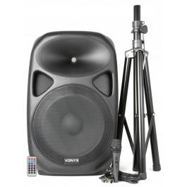 """15"""" actieve speakerset met standaard en microfoon"""